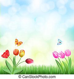 borboletas, fundo, capim, tulips, primavera
