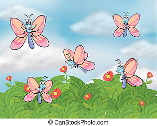 borboletas, jardim