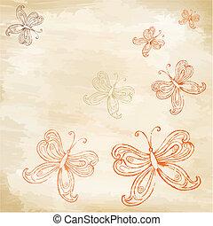 borboletas, papel, antigas