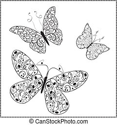 borboletas, vetorial, ornamento