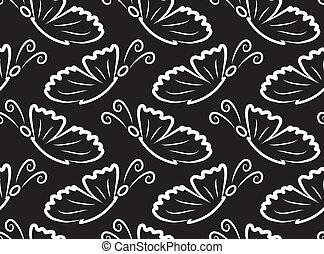 borboletas, vetorial, pattern., seamless