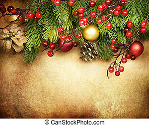 borda, desenho, cartão natal, retro