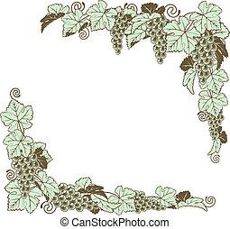borda, desenho, videira, uva