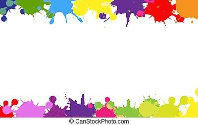 borda, fundo, branca, coloridos, blobs