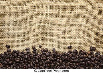 borda, sobre, feijões café, burlap