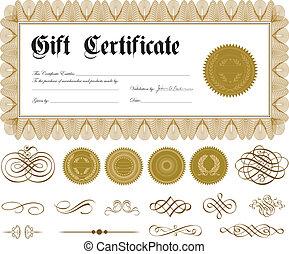 borda, vetorial, ornamentos, ouro, certificado