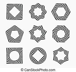 bordas, linha, arte moderna, etiqueta
