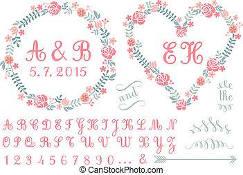 bordas, monogram, vetorial, floral
