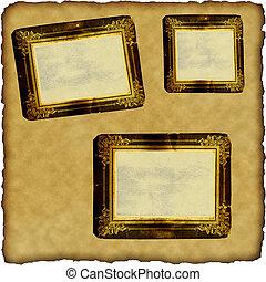 bordas, scrapbook, papel, antigas, vindima