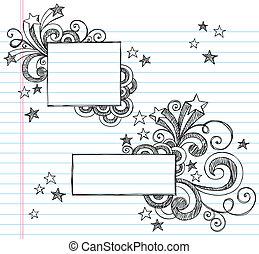 bordas, sketchy, estrelas, quadrado