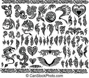 bordas, tatuagem, jogo, borda, dragões