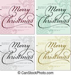 bordas, vetorial, natal, ornate