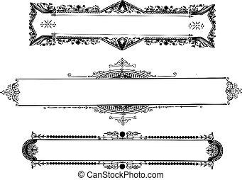bordas, vindima, vetorial, ornate