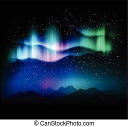 borealis, aurora, abstratos, fundo