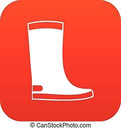 borracha, ícone, botas, vermelho, digital