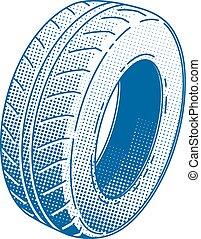 borracha, roda carro, pneu