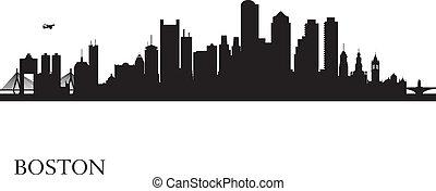 boston, silhueta silhueta, fundo, cidade