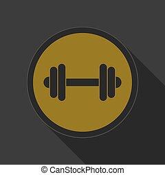 botão, amarela, pretas, dumbbell, redondo, ícone