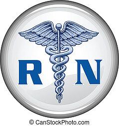 botão, enfermeira registrado