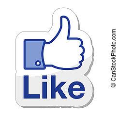 botão, facebook, aquilo, semelhante