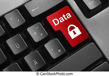botão, segurança dados, vermelho, teclado