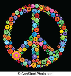 botão, sinal paz