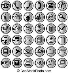 botões, ícones escritório