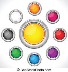 botões, 9, jogo, lustroso, coloridos