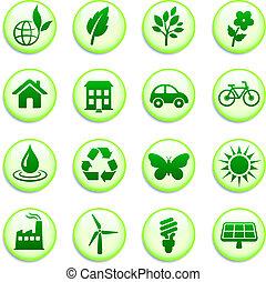 botões, ambiental, verde