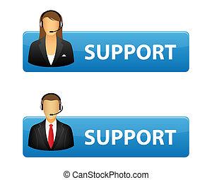 botões, apoio