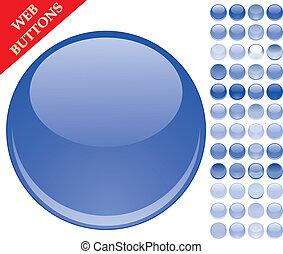 botões azuis, jogo, esferas, 49, ícones, ilustração, vidro, vetorial, lustroso, teia
