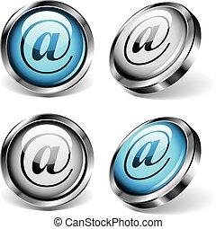 botões, e-mail, teia