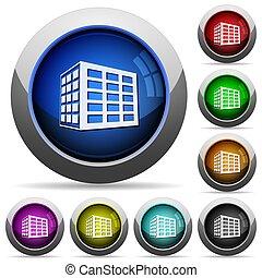 botões, escritório, lustroso, bloco, redondo