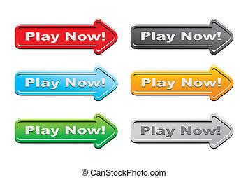 botões, jogo, agora, -, seta