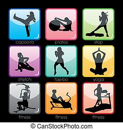 botões, jogo, condicão física