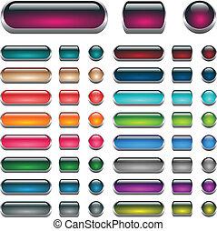 botões, teia, jogo, aqua