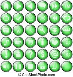 botões, teia, verde