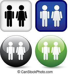 botões, vetorial, macho, femininas
