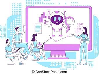bot, analytics, idéia, desenvolvimento, software, caráteres, caricatura, lecture., procurar, design., vetorial, illustration., automatizado, internet, 2d, analistas, teia, ai, robô, magra, negócio, criativo, conceito, linha