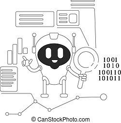 bot, caráteres negócio, teia, 2d, algorithm, desenvolvimento, vetorial, caricatura, linha, robô, magra, design., software, site web, automatizado, idéia, illustration., analytics, criativo, rastejo, conceito