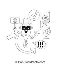 bot, desejado, anúncios, enviando, teia, 2d, anúncio, vetorial, newsletter., linha, caricatura, robô, magra, design., software, automatizado, idéia, illustration., spam, personagem, letras, mau, criativo, ai, conceito