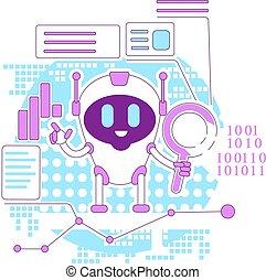 bot, negócio, internet, caráteres, teia, 2d, procurar, algorithm, desenvolvimento, vetorial, caricatura, linha, robô, magra, design., analytics, software, site web, automatizado, idéia, illustration., criativo, conceito