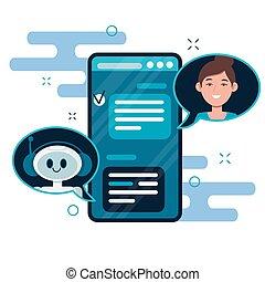 bot, smartphone., robô, aplicação, vetorial, bandeiras, conversa, usuários, concept., chatbot, conversando, teia, apartamento, ilustração, cute, caricatura, móvel, local
