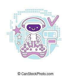bot, tocando, console, multiplayer, teia, 2d, vetorial, linha, caricatura, robô, magra, design., non, jogo, automatizado, idéia, illustration., personagem, vídeo, joystick, jogador, criativo, conceito, opção