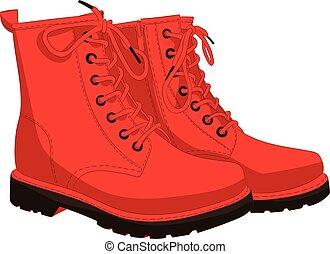 botas, branco vermelho, isolado