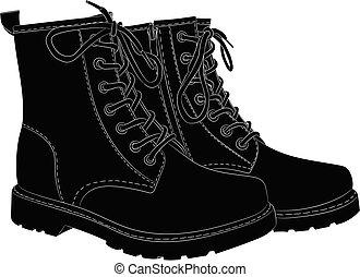 botas, pretas, branca, isolado