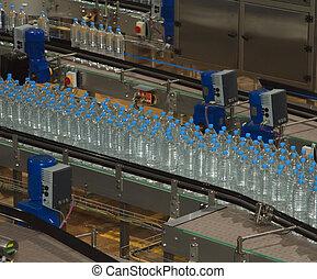 bottling, garrafas, transportador, indústria, plástico, máquina água