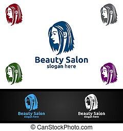 boutique, beleza, cosméticos, moda, ou, logotipo, salão, hairstylist