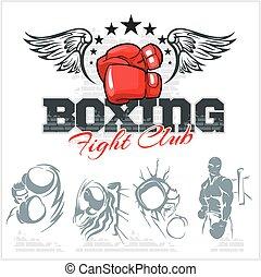 boxe, illustration., ícones, set., etiquetas, vetorial