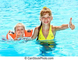 braçais, natação, pool., criança
